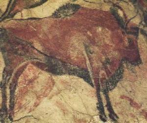 Puzle Pintura rupestres pré representando um búfalo na parede de uma caverna