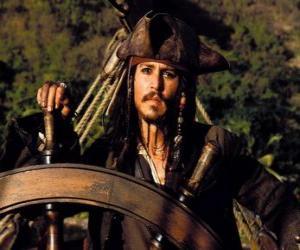 Puzle Pirata capitão ao leme do seu barco
