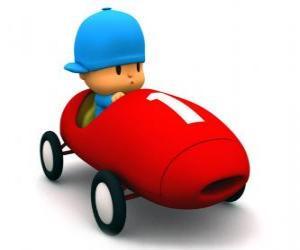 Puzle Pocoyo dirigindo um carro de corrida