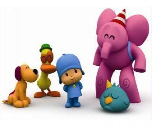 Puzle Pocoyo e seus amigos Pato, Elly, Loula e Sonequita ou Ave dorminhoca