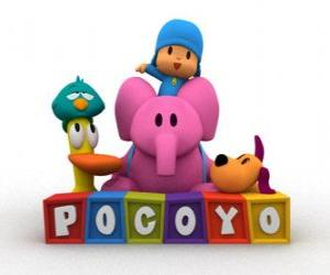 Puzle Pocoyo melhores amigas são Pato, Elly, Loula e Sonequita ou Ave dorminhoca