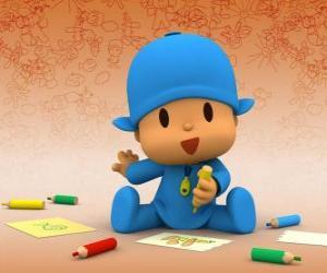 Puzle Pocoyo sentado no chão e fazendo um desenho em uma folha de papel