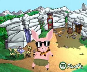 Puzle Pokopet Tork, um porco com óculos de sol, um animal de estimação a partir Panfu
