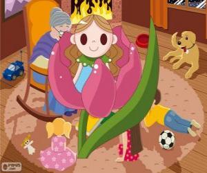 Puzle Polegarzinha. A pequena menina que nasceu em uma flor