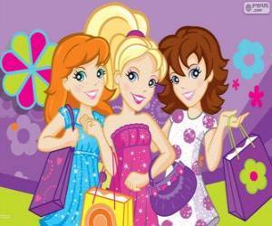 Puzle Polly Pocket compras com suas amigas