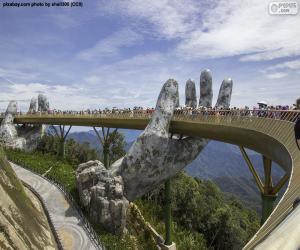 Puzle Ponte dourada da Nang, Vietnam