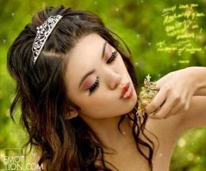 Puzle Princesa dando um beijo de um sapo