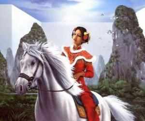 Puzle Princesa montando um belo cavalo