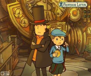 Puzle Professor Layton e seu assistente Luke Triton, principais protagonistas dos jogos de mistério e quebra-cabeças para Nintendo
