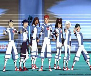 Puzle Protagonistas das aventuras de Galactic Football, alguns jogadores da equipa Snow Kids do planeta Akillian