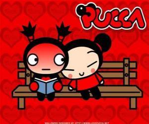 Puzle Pucca e Garu sentado em um banco de parque