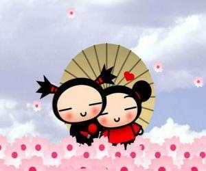 Puzle Pucca e Garu sob um guarda-chuva