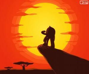 Puzle Pypus na rocha do rei como Simba, o rei leão