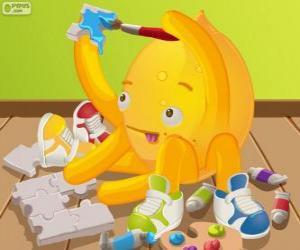 Puzle Pypus pintando um quebra-cabeça