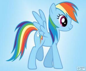 Puzle Rainbow Dash, um pônei pégaso com uma cauda arco-íris