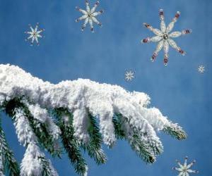 Puzle ramo do abeto cobertas de neve