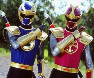Puzle Ranger trovão é um duo Crimson eu Azul-Marinho