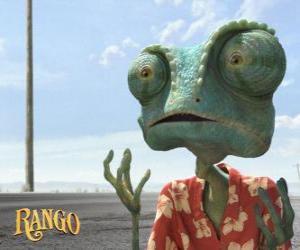 Puzle Rango é um camaleão mascota que vive em um terrário, que termina no deserto
