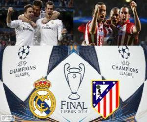 Puzle Real Madrid vs Atletico. Final da UEFA Champions League de 2013-2014. Estádio da Luz, Lisboa, Portugal