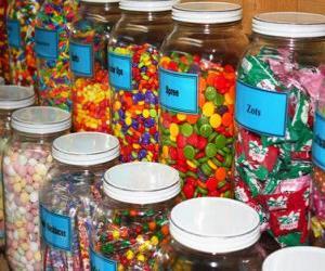 Puzle Recipientes de vidro com diferentes tipos de doces