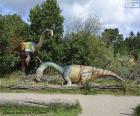 Grupo de três dinossauros na paisagem
