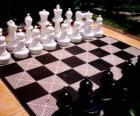 Tabuleiro de xadrez com todas as peças colocadas para iniciar o jogo