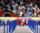 Corrida com barreira, atleta no salto de um obstáculo