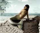 Sereia sentada sobre uma rocha à beira-mar