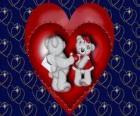Dois ursos namrados com corações