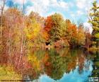 Bela paisagem de Outono com o reflexo das árvores na água