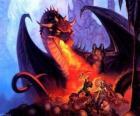 Dragão atirando fogo pela boca