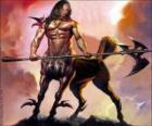 Centauro armado - Ser com o corpo ea cabeça humana e corpo de cavalo