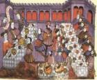 Cenas de um jantar medieval no salão do palácio ou castelo