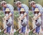 Avó ensinando a irrigar a sua neta