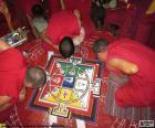 Fazendo uma mandala de monges