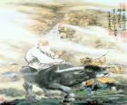 Laozi, Lao Tsé ou Lao-Tzu, filósofo da antiga China, figura central do Taoísmo, cavalgando um búfalo
