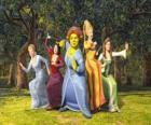 Princesas Cinderela, Branca de Neve, Fiona, Rapunzel  e A Bela Adormecida