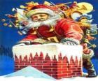 Papai Noel que entra pela chaminé carregado com muitos presentes