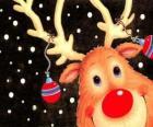A cabeça de Rodolfo, a rena do nariz vermelho, decorado com enfeites de Natal