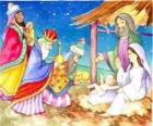Os Três Reis Magos entregando os seus donativos, ouro, incenso e mirra, ao Menino Jesus