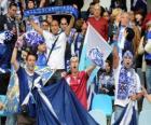 Club Deportivo Tenerife bandeira é azul e branco