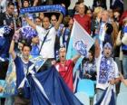 Bandeira de Club Deportivo Tenerife, azul e branco