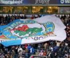 Bandeira do Blackburn Rovers Football Club, da cidade de Blackburn, do Condado de Lancashire