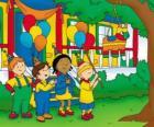 Caillou tentando quebrar o pinata em uma festa com seus amigos