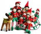 Família de elfos com seu rena