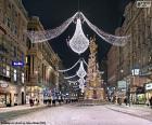 Rua decorada para o Natal