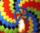 Interior de um balão com a chama