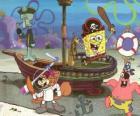 Bob Esponja e alguns de seus amigos jogar em piratas sendo
