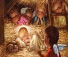 O Menino Jesus na manjedoura com a proteção de um anjo