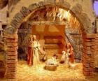 Principal escena do presépio com a Sagrada Família em um estábulo